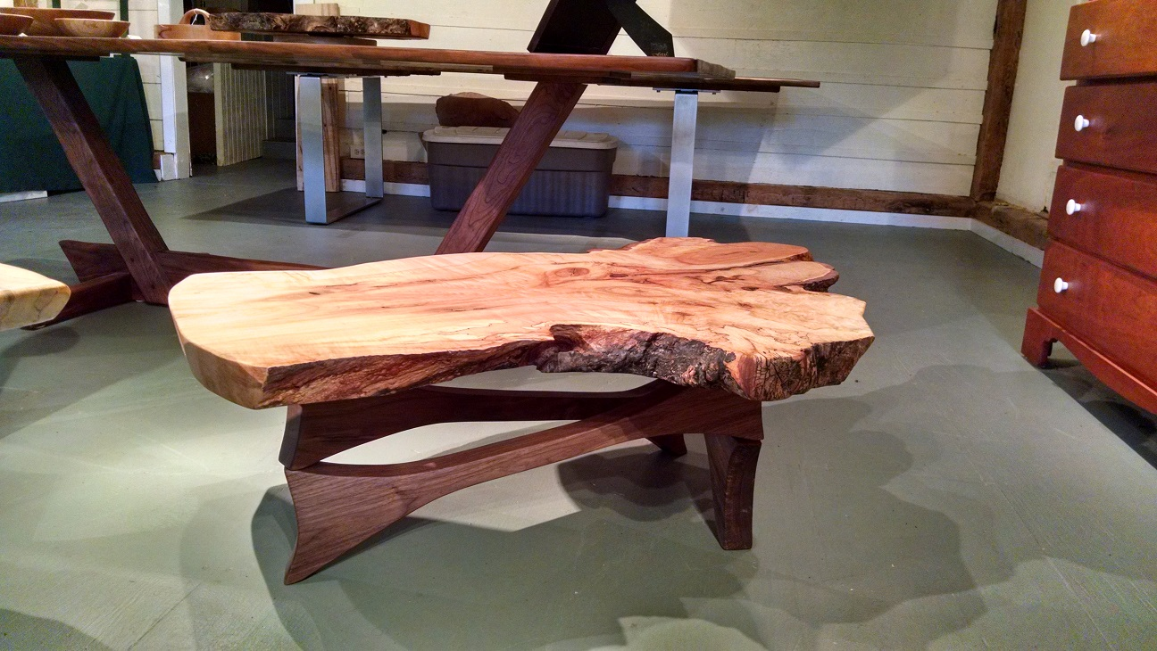 table, coffee table, maple, figured maple, accent table, woodworks